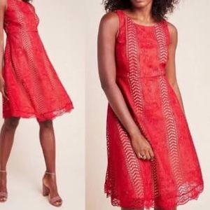 Brand new Anthro red lace mini dress